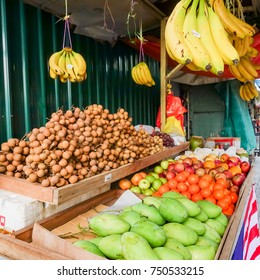 Vegetables and fruit in the vegetable market
