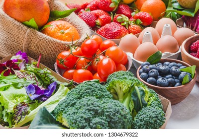 Vegetables and fruits background.Healthy natural organic food.