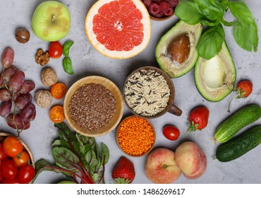 vegetables, fruits and cereals for a healthy food and diet