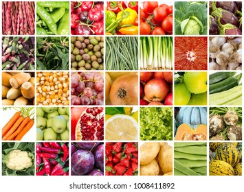 Vegetables and fruits collage