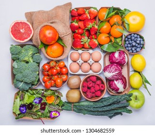 Vegetables and fruits flat lay background.Healthy organic food concept.
