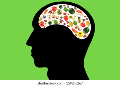 Vegetables and fruits in Head,It reflects the care and love to eat good food.