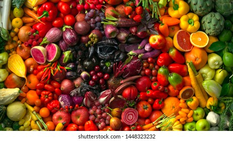 vegetables and fruits healthy vegan, tomatoes,zucchini, avocado and lemon