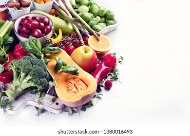 Vegetables and fruits.  Image with copy space. Healthy food concept
