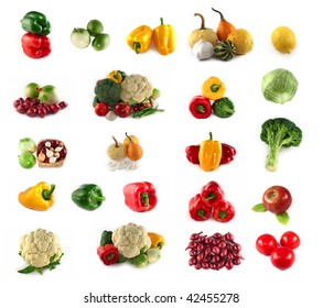 A lot of vegetables and fruits isolated on white background