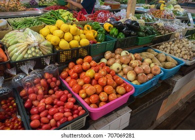 Vegetables and fruits on the Thai market. Fresh vegetables and fruits