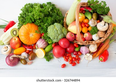 Vegetables and fruits on a white background.