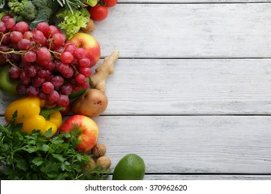 vegetables and fruits on white boards, food top