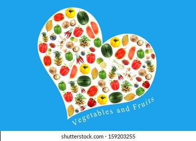 Vegetables and fruits on white heart,It reflects the care and love to eat good food.