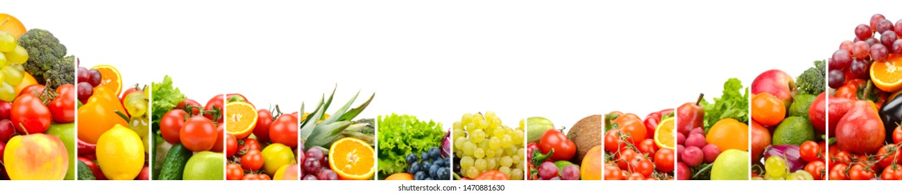 Vegetables and fruits separated vertical lines against white background