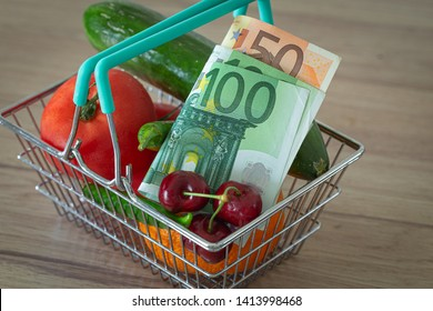 vegetables and fruits in the shopping basket along with Euro money / the concept of food price increase