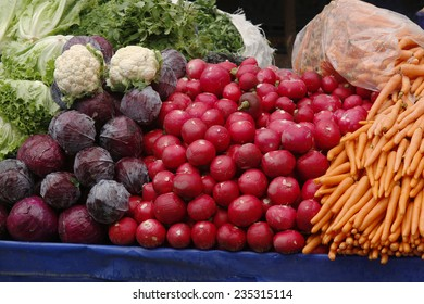 Vegetables and fruits in traditional Turkish grocery bazaar..
