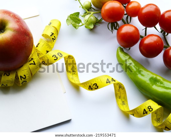 Peachy Vegetables Fruits Weight Loss Measuring Tape Stock Photo Download Free Architecture Designs Scobabritishbridgeorg