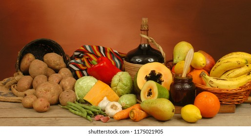 Vegetables, fruits and wines, typical food products in the fields of Tenerife, Canary Islands