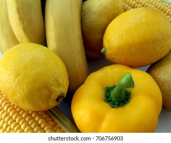 a lot vegetables and fruits in yellow color
