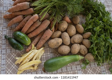 vegetables from garden on table