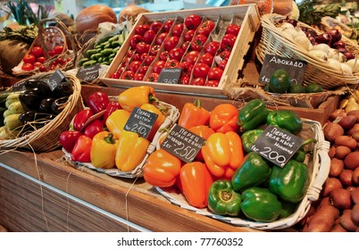 Vegetables and groceries on stall in a supermarket