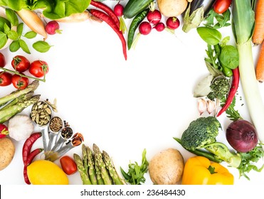 Vegetables in heart shape on a white background