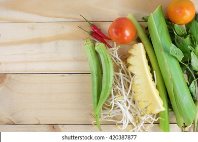 Vegetables ingredients for Vietnamese Sweet and Sour Fish Soup, Canh Chua