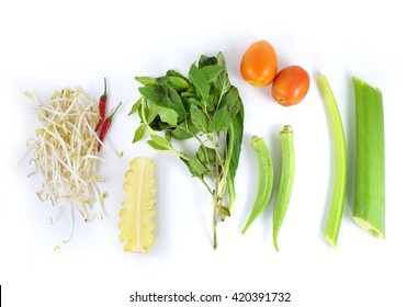Vegetables Ingredients for Vietnamese Sweet and Sour soup, Canh Chua