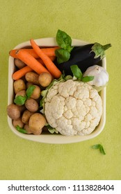 Vegetables isolated in a baking pan