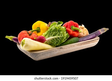 Vegetables isolated in black background