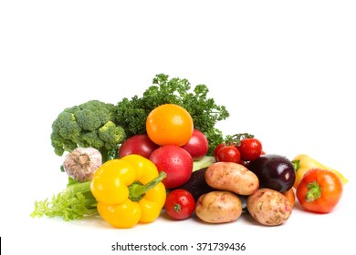 Vegetables isolated on a white background. Concept of healthy food.