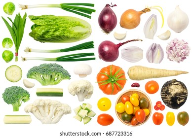 Vegetables isolated on white background: garlic, onion, ramsons, celery, mushroom, cauliflower, broccoli, tomato, pepper, parsnip, radish, Brussels sprouts