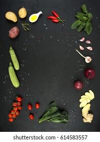 vegetables on a black background