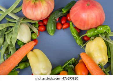 vegetables on a blue wooden surface