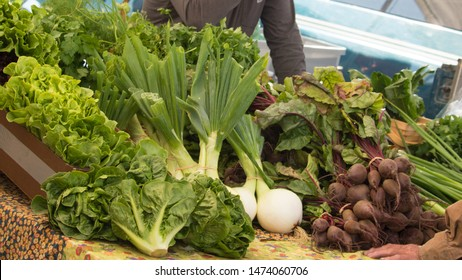 Vegetables on display at a local farmers market in Homer, Alaska
