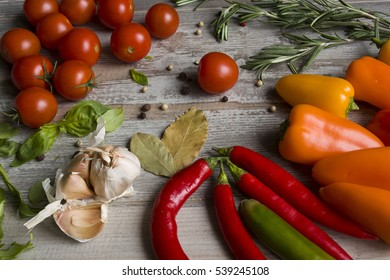 Vegetables on the grey background