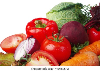 Vegetables on the kitchen. White background.