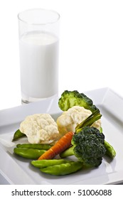 Vegetables On Plate With Glass Of Milk And Napkin