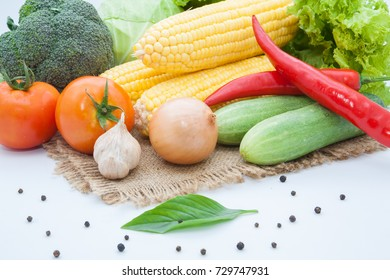 vegetables on sack background isolated