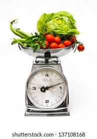 vegetables on a weight scale
