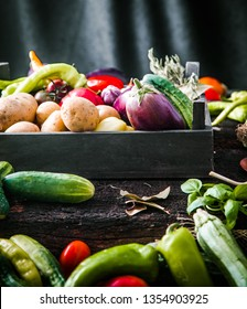 Vegetables on wood. Organic vegetables in rustic setting. Fresh food. Healthy veggies