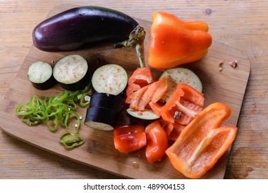 Vegetables on wooden plate