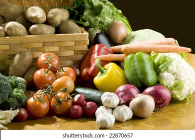 A lot of vegetables on wooden table