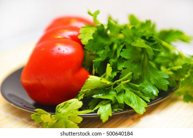 Vegetables. Pepper and parsley.