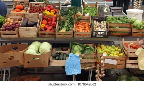 Vegetables Produce in Crates at Local Market