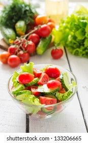 Vegetables and salad from cherry tomatoes and cucumbers