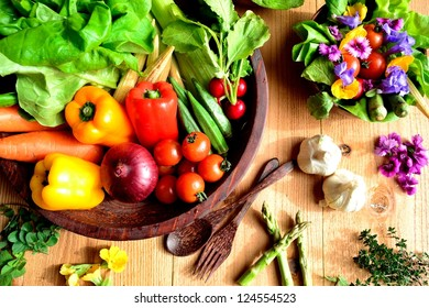 Vegetables with salad dish with spring edible flowers