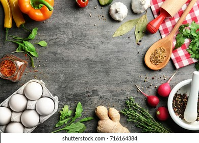 Vegetables and spices on kitchen table. Cooking classes concept