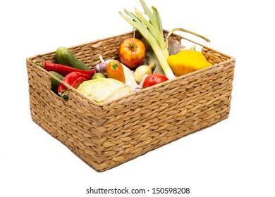 Vegetables in the square basket