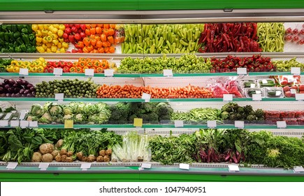 vegetables in supermarket grocery food background