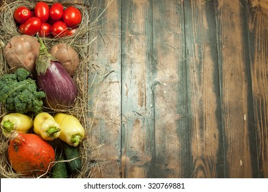 Vegetables in a wooden lacquered box.