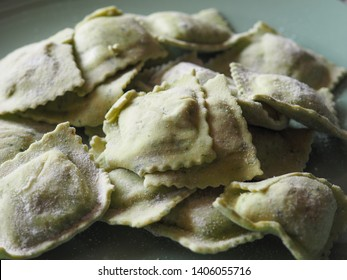 vegetarian agnolotti with ricotta cheese and herbs, traditional Italian pasta food