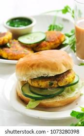 Vegetarian Alu Tikki Burger with potato Patties