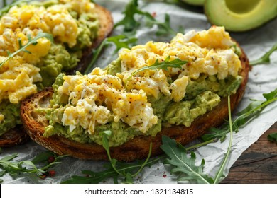 Vegetarian Avocado and scrambled egg sourdough toast.